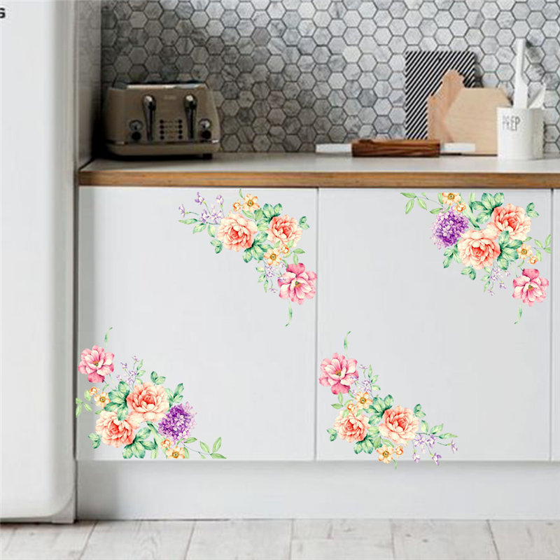 elegant flower vine home decal kitchen refrigerator wall ...