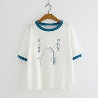 Nowa Moda Lato Japoński Kobiet Świeże Słodkie Mori Dziewczyna Styl T-Shirt Ryby Wydrukowano Loose Casual Bluzki Lato T-Shirt