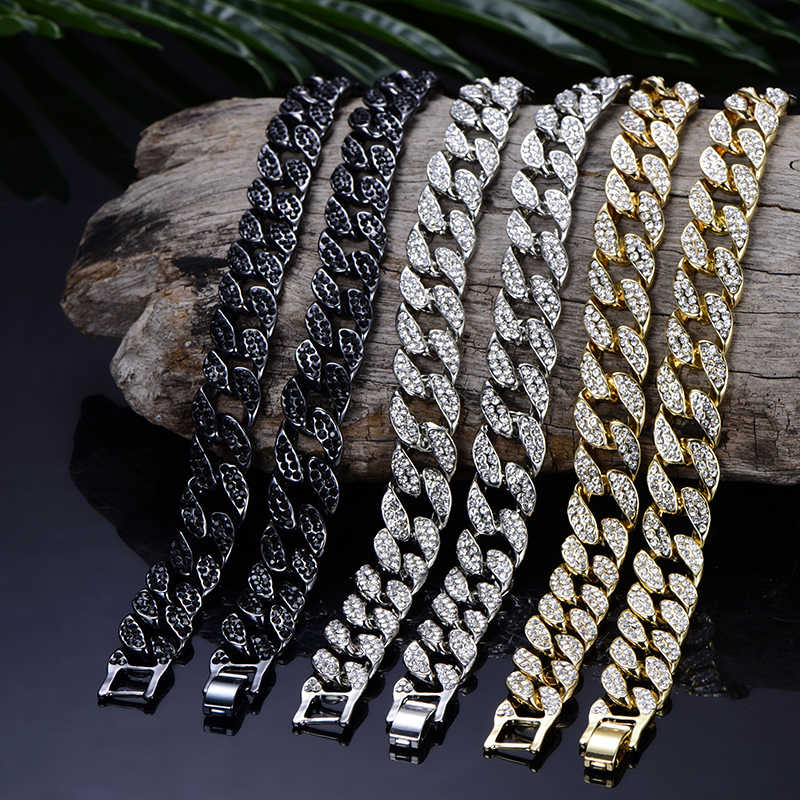 Miami Curb Cuban link Chain Pendent For Men Gold Silver Hip Hop Iced Out Paved bling Rhinestone CZ Rapper Necklace Jewelry gift