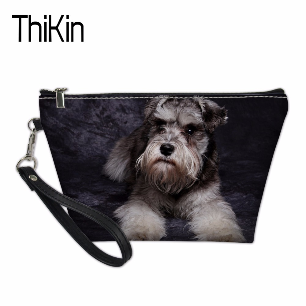 THIKIN Makeup Bag Cute Schnauzer Pattern Organizers Bags for Women Girls Travel Make Up Case Functional Cosmetics Toiletry Bag