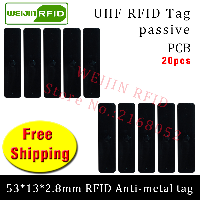 UHF RFID metal tag 915m 868m EPC 20pcs free shipping fixed-assets management 53*13*2.8mm rectangle PCB passive RFID tags hw v7 020 v2 23 ktag master version k tag hardware v6 070 v2 13 k tag 7 020 ecu programming tool use online no token dhl free