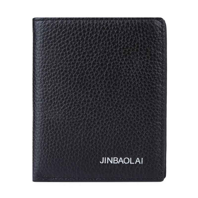 First Layer Leather Pure Color Credit Card Holder Driver License Vertical Wallet For Men Unique Design