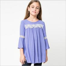 2016 Teenager Crochet Lace Cotton Shirts Big Babies Fashion Flare Sleeve Jumper Blouse Junior Autumn christmas Clothing