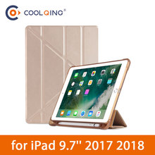TPU Soft Smart Case For iPad 9.7 2017/2018 Multi-folded Protective Cover With Pencil Slot Tablets 2018