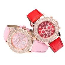 Dress Watches Women Girls Candy Color Quartz Bracelet Watch Ladies Women Fashion Crystal Round Wristwatch Reloj Mujer 2016#77