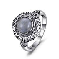 JewelryPalace Vintage 1 8ct Genuine Labradorite Carved Solitaire Finger Ring 925 Sterling Silver Luxury Brand Nice