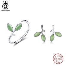 ORSA JEWELS Genuine 925 Sterling Silver Women Jewelry Sets Leaf Pattern Design Cat's Eye Stone Party Ring And Earrings SS21-5(China)