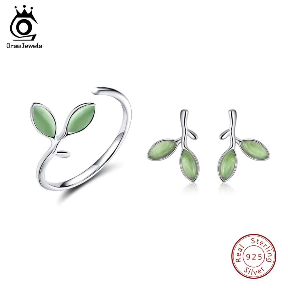ORSA JUWELEN Echtem 925 Sterling Silber Frauen Schmuck Sets Blatt Muster Design Katzenauge Stein Party Ring Und Ohrringe SS21-5