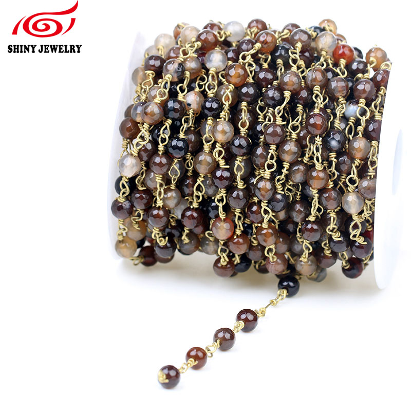 Finding - 5Meter Wire Wrapped Beaded Chains Gold Plating Rosary Chain Brown Color Faceted Crystal Beads Size 6mm Jewelry Making