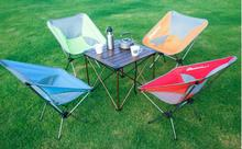 Pure Colour Outdoor Folding Chair Moon Chair Ultra-light Portable Aluminum Alloy Fishing Chair Camping Folding Table and Chair