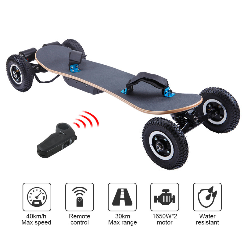 1650W Dual Motor 45KM/H High Performance Boosted One Piece Electric Skateboard Board Remote Sport Electric Skateboard 2017 new 4 wheels electric skateboard scooter 600w with bluetooth remote controller replaceable dual hub motor 30km h for adults
