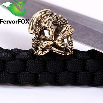 New Paracord Beads Metal Charms Skull For Paracord Bracelet Accessories Survival,DIY Pendant Buckle for Paracord Knife Lanyards broad paracord