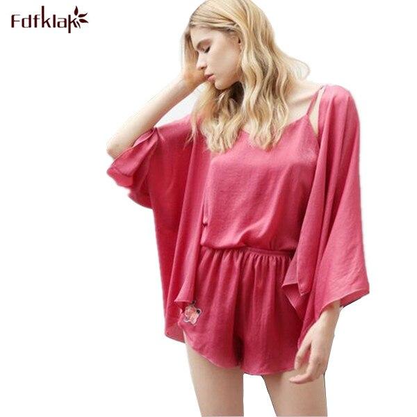 3603fed4f0b Sexy Spaghetti Strap Pyjama Set Silk Pajamas For Women Pyjamas Women Summer  New Pijamas Mujer Sleepwear Black Pink 3 Pieces Q133