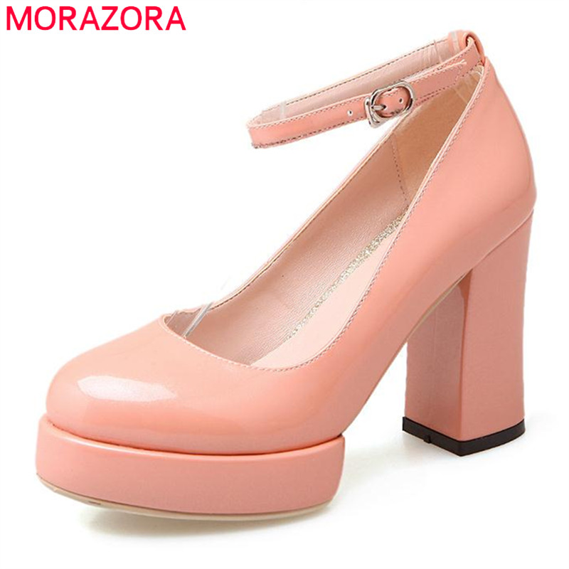 ФОТО MORAZORA Soft leather shoes womens pumps buckle shallow single high heels shoes big size 33-43 solid party shoes fashion
