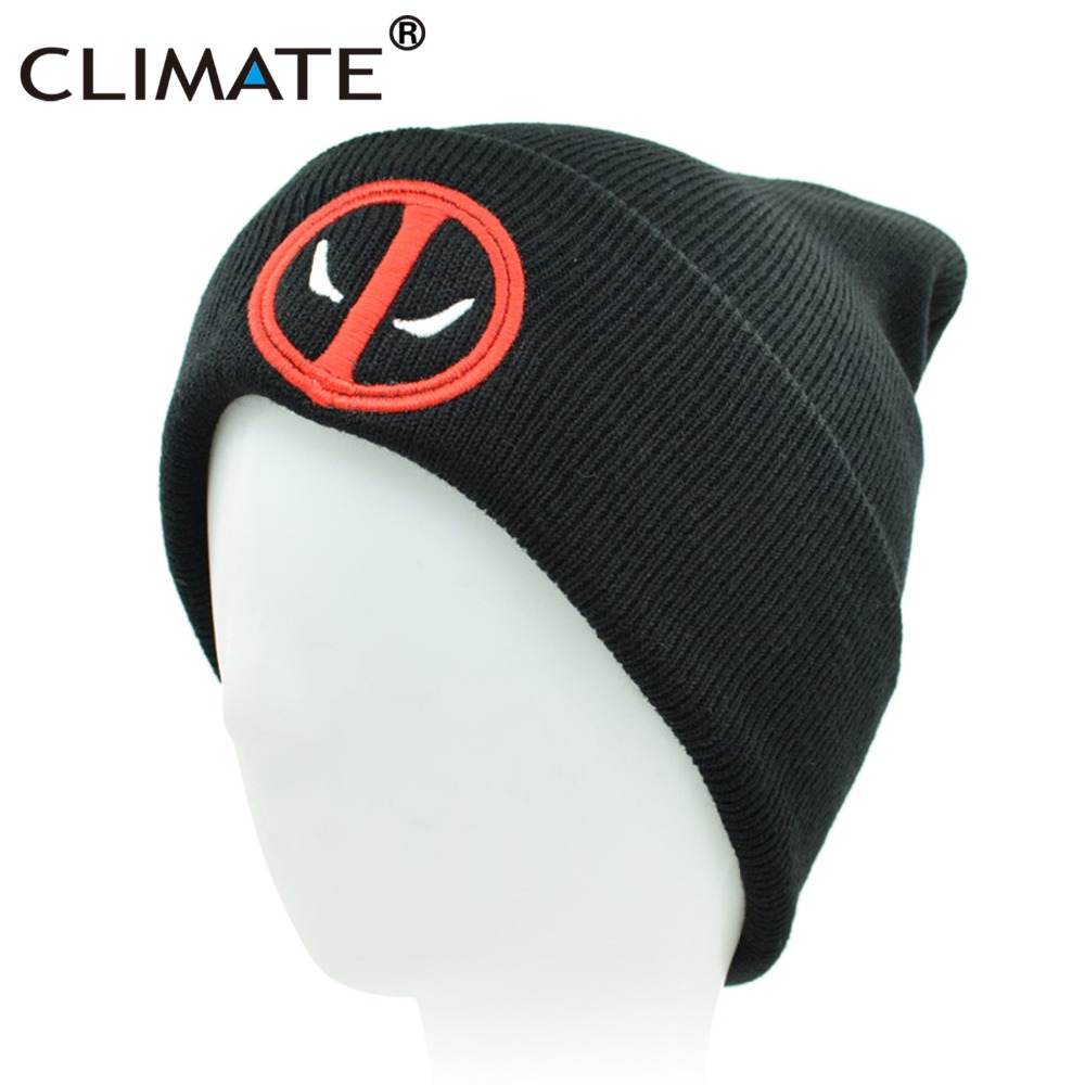 CLIMATE New Hot Men Women Winter Warm Beanies Hat Deadpool Heros Hat Beanie Soft Hip Hop Black Warm Knitted Caps For Men Women [aetrends] brand 2017 hats for men women new unisex cotton hip hop ring warm beanie cap winter autumn knitted beanies z 5082