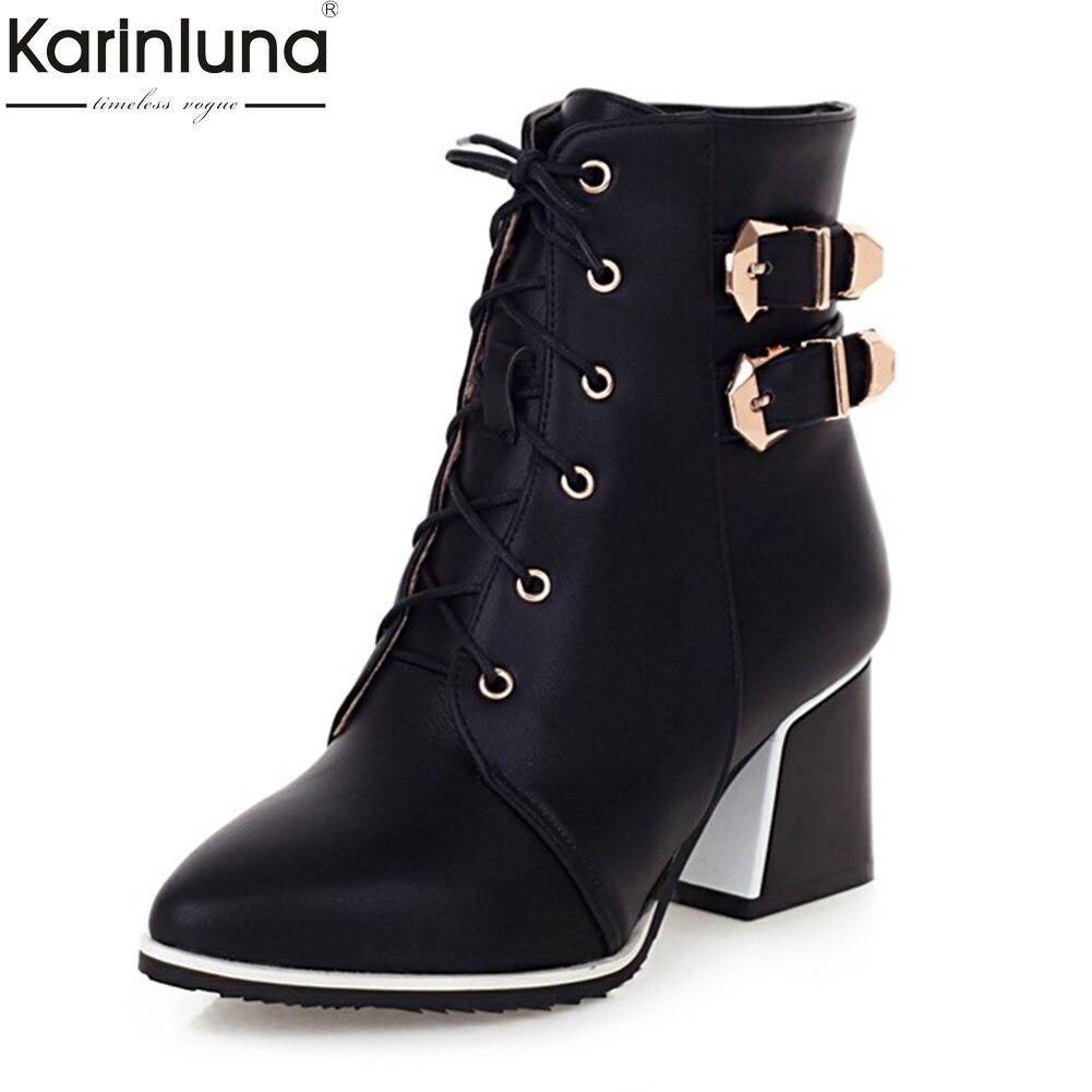 60eece36 KarinLuna 2018 talla grande 34-43 zapatos de mujer botas de tobillo zapatos  de invierno Chucky tacones altos botas occidentales Mujer zapatos