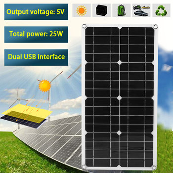 25W 5V/18V Monocrystalline Silicon Solar Panel High Conversion IP65 Waterproof + 10A LED Solar Controller for Boat Car Outdoor