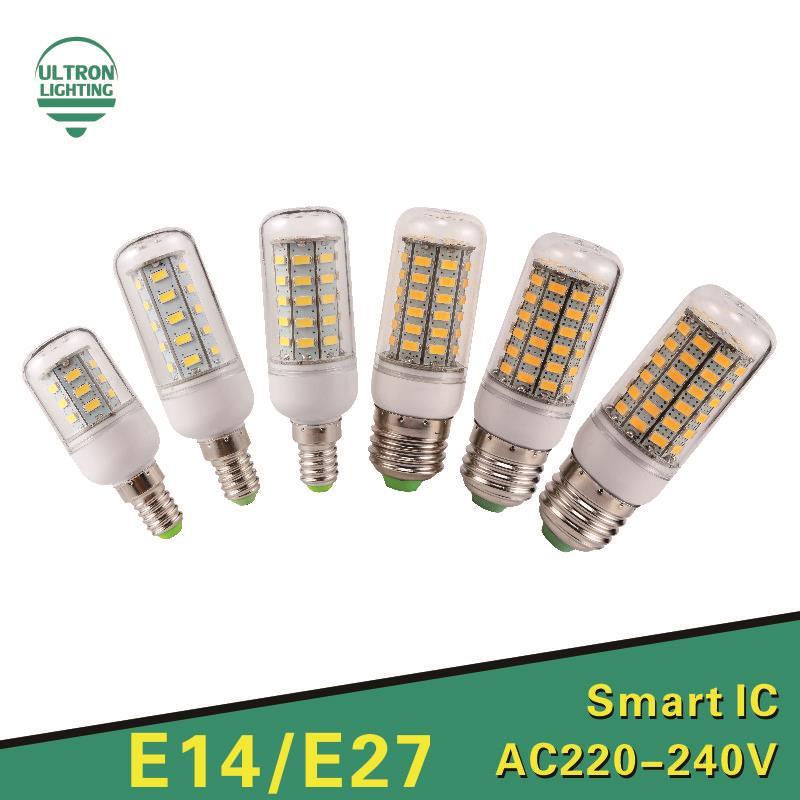 Lampada LED Bulb E27 E14 LED Lamp 5730 <font><b>SMD</b></font> LED <font><b>Lights</b></font> Corn Bulb 24 36 <font><b>48</b></font> 56 69 72Leds Chandelier Candle Lighting Home Decoration