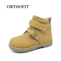 Hot Selling Kids Leather Casual Boots Spring And Autumn Orthopedic Flat Feet Shoes For Children