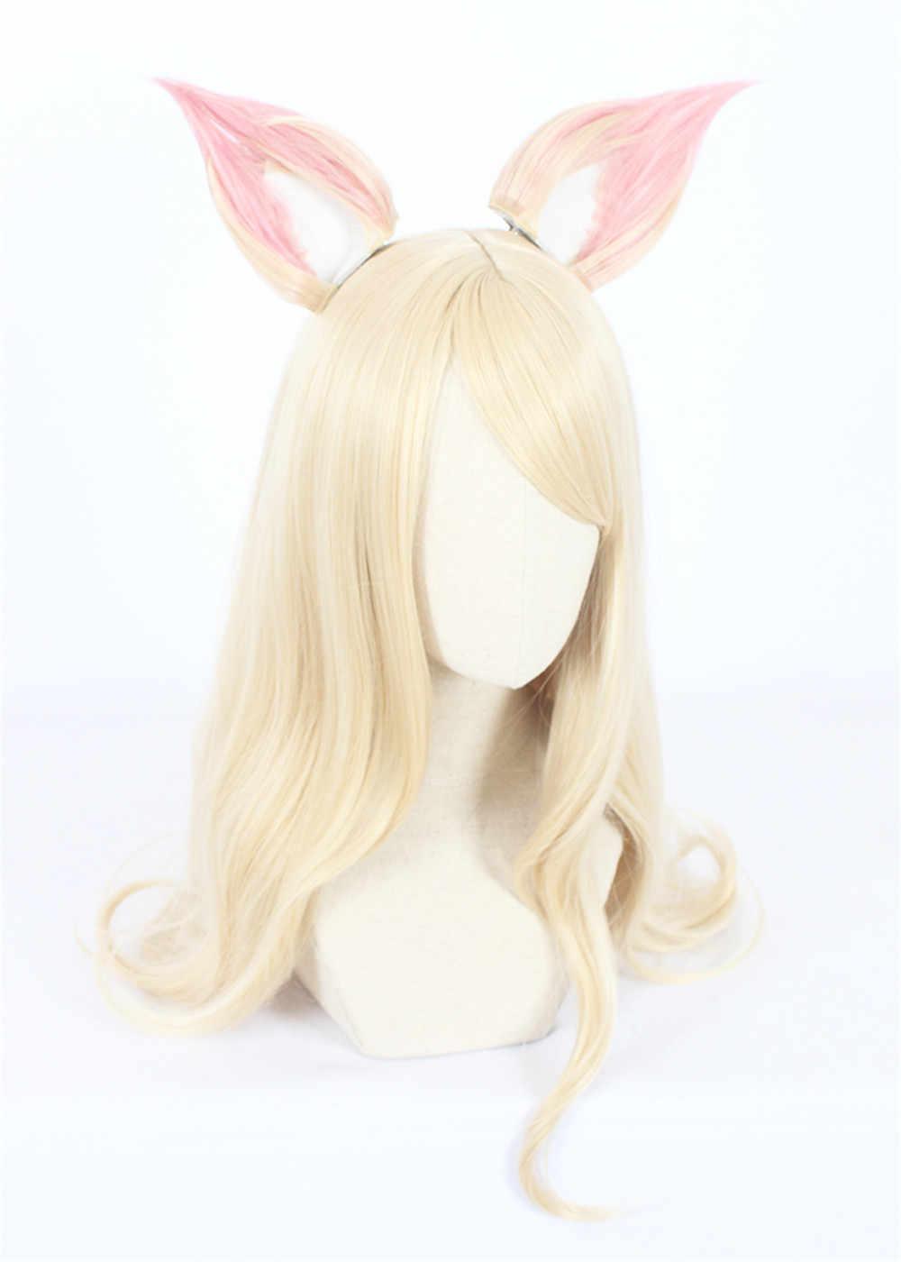 Лол K/DA Ahri косплэй Искусственные парики 90 см с ушками кДа термостойкие синтетические волосы Perucas косплэй парик