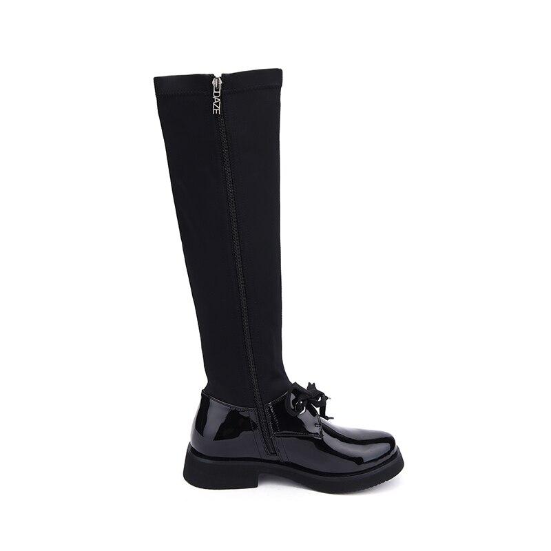 Mujeres Mujer Sexy Estilo Hellenia Las 2018 Tela Black De Bota Primavera Zapatos Planos Botas Otoño Larga Tacón Grueso Bajo Nuevo w0nz4r06Z