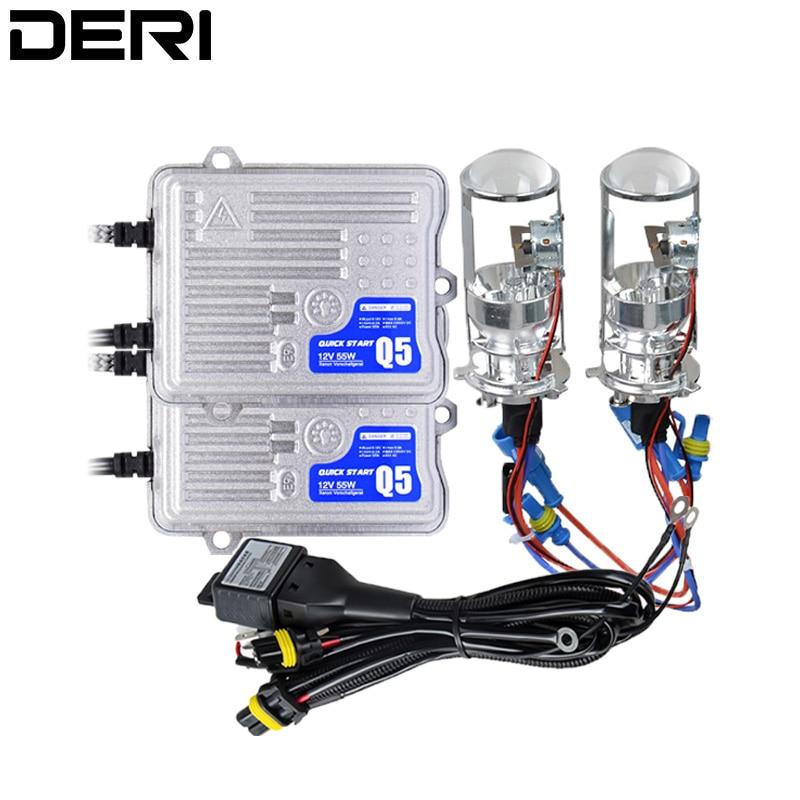 H4 HID Mini projecteur lentille phare Bi xénon phares ampoules pour voiture rénovation 55 W 1.5 pouces 4300 K 6000 K LHD RHD H4 xénon lumières