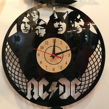 European retro style ACDC Theme Wall Clock Vinyl Record clock unique Black Vinyl CD Clock For Living Room Decoration