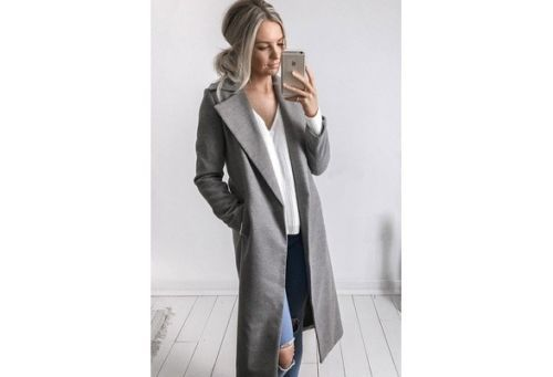 2018 new fashion Women Winter Warm Wool Lapel long Trench Coat female stylish solid Long Slim Overcoats Outwears clothes 4