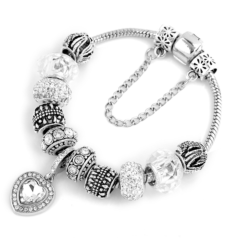 Kaisai Fashion Silver Heart Charms Bracelet Bangle for Women DIY 925 Crystal Beads Fit Pandora Bracelets Women Pulseira Jewelry