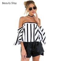 BeautyStay Women S Off Shoulder Stripped Blouse Shirts Women Slash Neck Puff Casual Loose Boho Summer