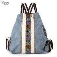 Ethnic Canvas Backpacks Women Embroidery Patchwork Vintage Drawstring Bag Travel Boho Bucket Shoulder Bag Mochila Sac A Dos