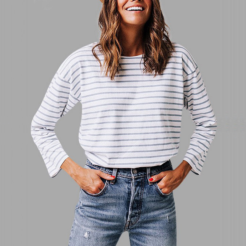 Women Lady T-shirt Top Long Sleeve Round Collar Stripe Buttons Fashion Clothing FS99