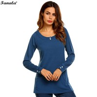 Women Fashion O-Neck Long Sleeve Solid Button Tunic T-Shirt Camiseta de manga larga con botones en tunica N3020