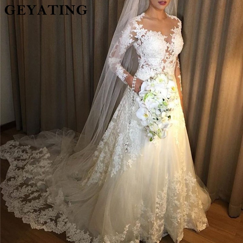 Vintage Lace White Dress Wedding 2019 Long Sleeves Wedding