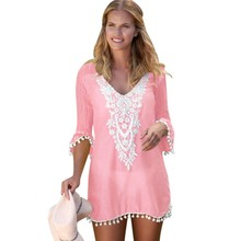 82c9dcb6831ff Zmvkgsoa Wholesale Black White Crochet Pom Pom Trim Beach Dresses Tunic  Cover Up Women Beach Dress