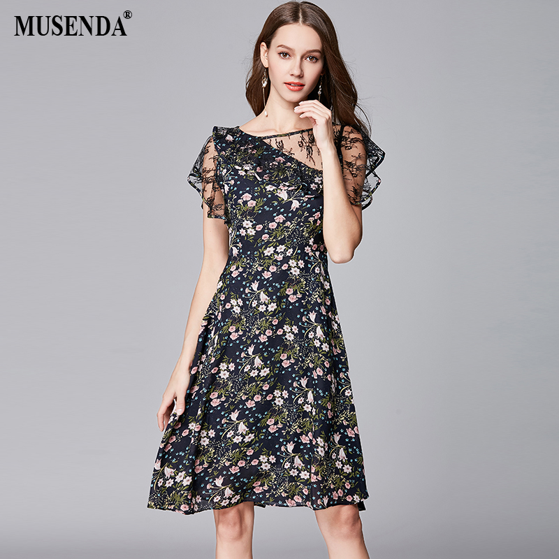 MUSENDA Plus Size Women Chiffon Floral Mesh Tunics Dress New 2018 Summer  Sundress Female Ladies Vintage f14907bf5341