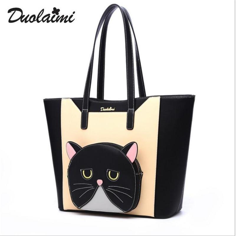 купить duolaimi brand cartoon printing solid bag zipper handbags hotsale laide shopping totes women fashion clutch medium shoulder bags дешево