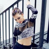 2017 New Summer Style Sexy Drôle Courtes T-shirt Hip Hop Punk imprimé Lettre De Danse T-shirt Avec Capuche Manches Longues Femmes Tops Tee