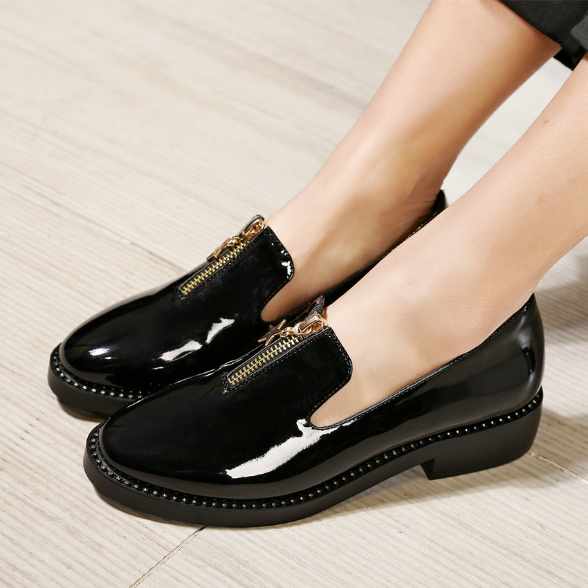 цены  British Style Black Casual Shoes 2017 Square Low Heel Woman Pumps Round Toe Spring Autumn Women Shoes Big Size 34-43