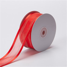 20yards/lot 38mm Satin Edge Stripes Organza Sheer Ribbon for Party Wedding Decoration Flowers Gifts Wrapping