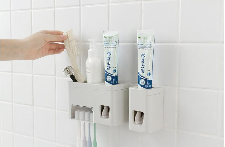 1PC Hot Sale Automatic Toothpaste Dispenser Family Toothbrush Holder set High Quality Bathroom Sets LF 252 in Storage Holders Racks from Home Garden