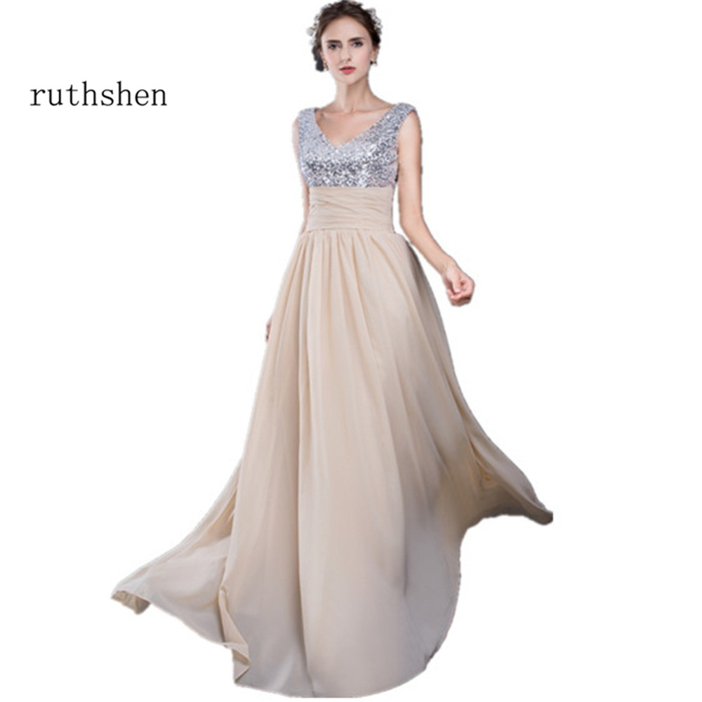 ruthshen Cheap   Prom     Dresses   2018 V-Neck Sequins Draped Pleats Chiffon Long Evening Gowns Real Sample Robe De Soiree