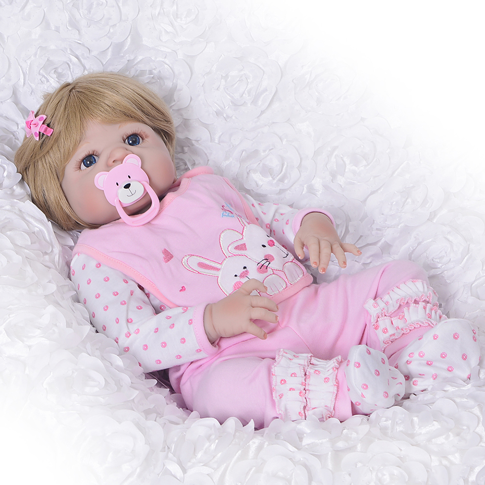 Lovely Girl Princess Reborn Baby font b Dolls b font 23 Full Silicone Body Lifelike Baby