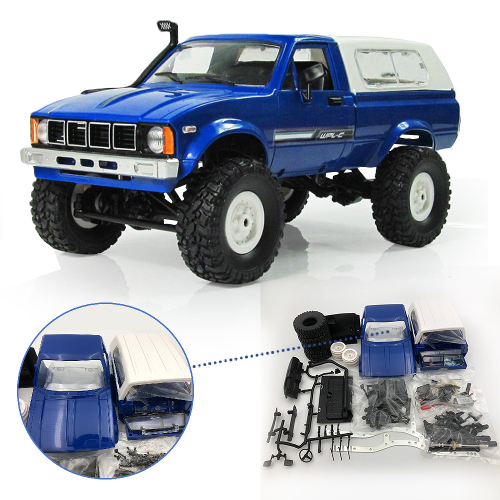 WPL Radio Controlled Cars Off Road C-24 4WD RC Car Parts 1:16 RC Crawler Truck Body Assemble Kit Electric Car Conversion Kit wpl c 24 1 16 4wd 2 4g military truck buggy crawler off road rc car 2ch rtr toy kit without electric parts diy rc model blue red