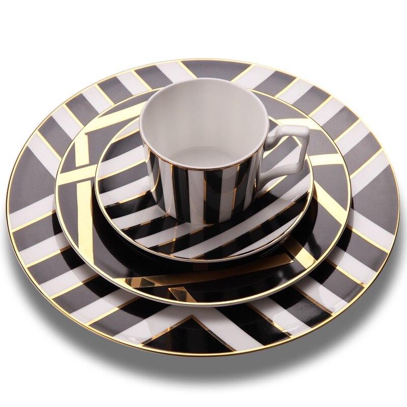 Ensemble de vaisselle en porcelaine d'os de haute qualité assiettes à dîner avec des plats et des assiettes de soucoupe de tasse à café