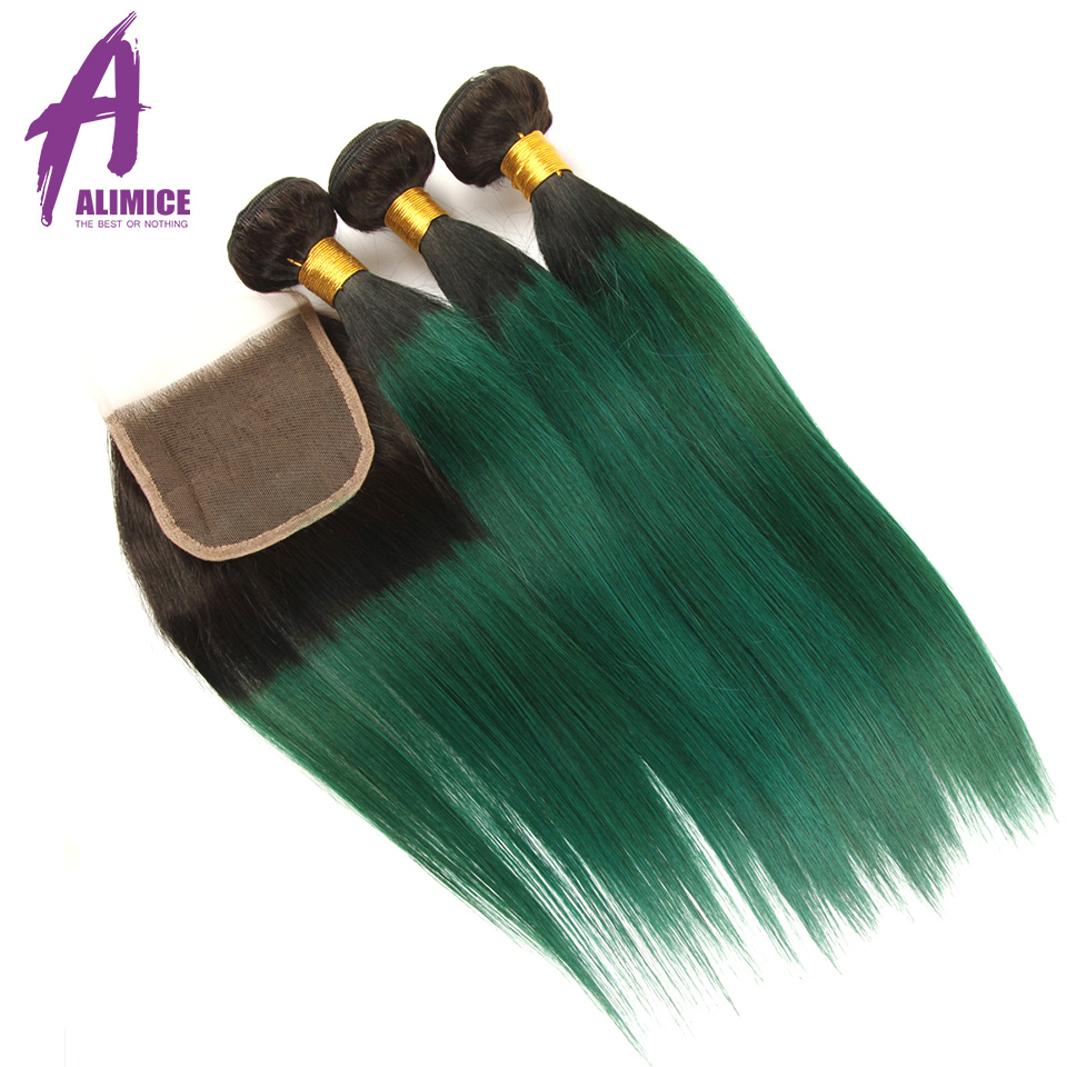 Alimice Ombre Bundles With Closure 3Bundles With Closure 4Pcs T1B Green Colored Dark Roots Brazilian Straight
