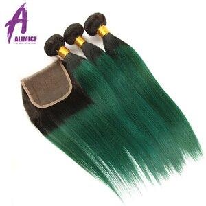 Image 3 - Alimice Ombre Bó Với Khóa 3 Ốp Lưng Với Khóa 4 T1B/Xanh Màu Đậm Gốc Brasil Thẳng Con Người tóc Bó