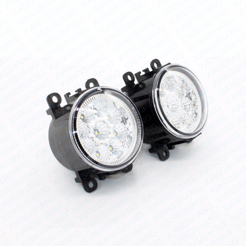 2pcs Car Styling Round Front Bumper LED Fog Lights DRL Daytime Running Driving  For Peugeot 4007 GP_ 2007-2010 2011 2012 2013 led front fog lights for opel corsa d 2006 2013 2014 2015 car styling round bumper drl daytime running driving fog lamps