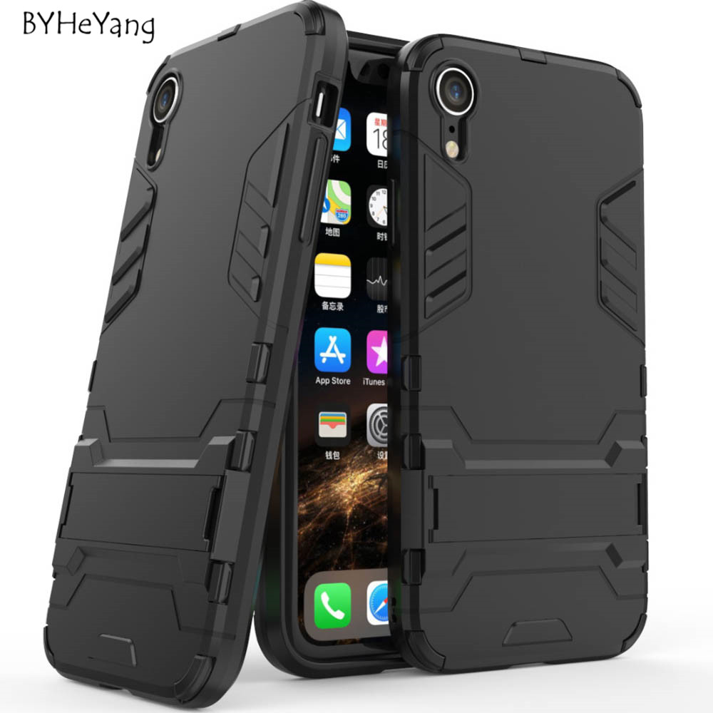 For iPhone XR Case For Apple iPhone Xr Cover Slim Robot Armor Kickstand Shockproof Rubber Case