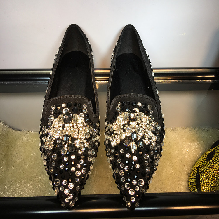 6b7d133109 2019 Spring New Casual Shoes Women Pointed Toe Rhinestone Embellished Slip  On Women Loafers Suede Cozy Flats Zapatos de Mujer 2 3 4  20180226_173746_164 ads ...